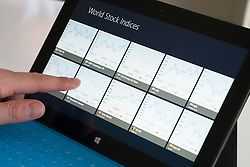 Using a financial application on a Microsoft Surface rt tablet computer