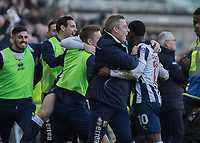 Football - 2016 / 2017 FA Cup - Fifth Round: Millwall vs. Leicester City <br /> <br /> Millwall bench celebrate taking the lead at The Den<br /> <br /> COLORSPORT/DANIEL BEARHAM