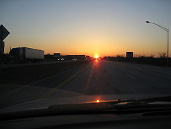 Sunset due West, Perfect Alignment on Old Route 66, now Route 44, near Strafford MO. Passing Lane perfectly aligns with Sun Setting in the West on 19 March 2008