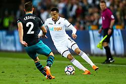 Martin Olsson of Swansea City is challenged by Cedric Soares of Southampton - Rogan/JMP - 08/05/2018 - FOOTBALL - Liberty Stadium - Swansea, Wales - Swansea City v Southampton - Premier League.