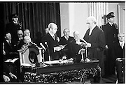 Inaugeration of Cearbhall O'Dalaigh as President  (H77).1974..19.12.1974..12.19.1974..19th December 1974..Following the sudden death of President Erskine Childers, Mr Cearbhall O'Dalaigh was nominated by The Fianna Fail party as its candidate to replace him. The Fine Gael /Labour coalition government did not oppose the nomination and Mr O'Dalaigh was elected un-opposed on a joint party agreement.