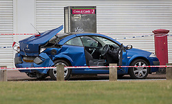 © Licensed to London News Pictures. 26/09/2016. London, UK.  A damaged vehicle believed to have been involved in a disturbance that lead to a man being fatally stabbed are seen near  Briantree Road, Dagenham. Police were called to to a disturbance in Braintree Road on Sunday evening 25th September 2016 where officers found a man in his thirties suffering from stab wounds. He died at the scene a short while later. A murder investigation has been launched. Photo credit: Peter Macdiarmid/LNP