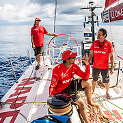 Leg 4, Melbourne to Hong Kong, day 11 on board MAPFRE, Rob Greenhalgh, Guillermo Altadill and Joan VIla looking for wind. Photo by Ugo Fonolla/Volvo Ocean Race. 12 January, 2018.