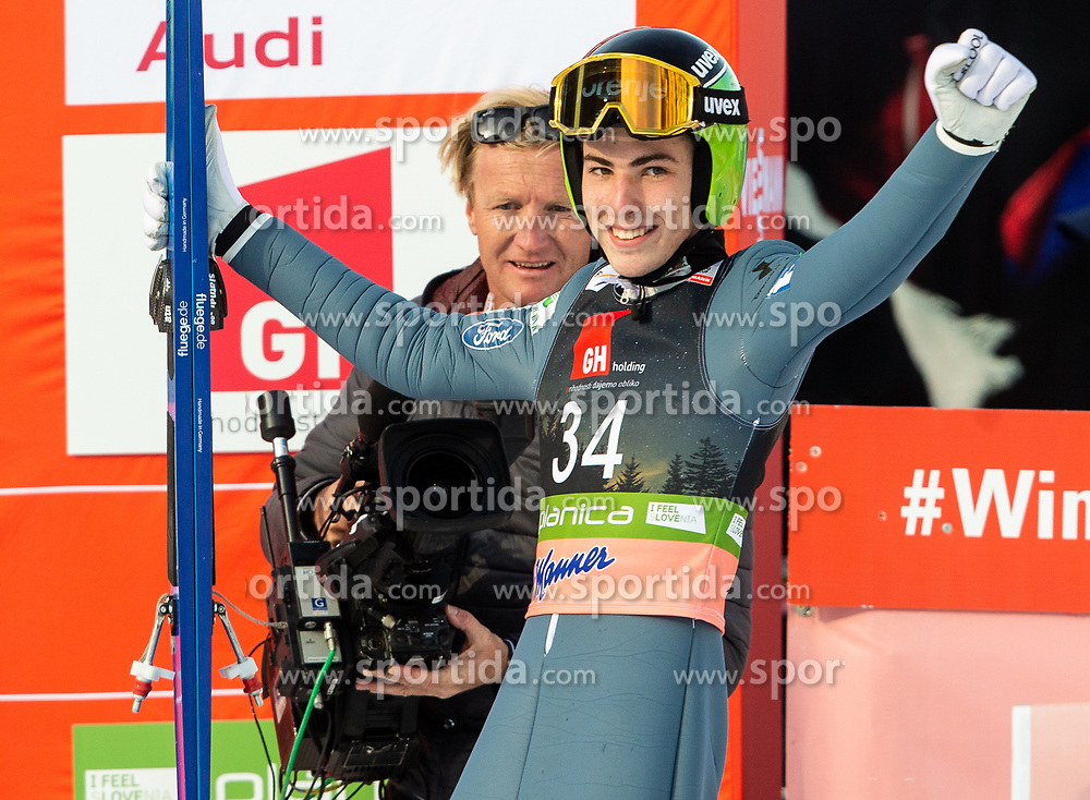 Timi Zajc (SLO) celebrates during the 2nd Round of the Ski Flying Hill Individual Competition at Day 2 of FIS Ski Jumping World Cup Final 2019, on March 22, 2019 in Planica, Slovenia. Photo by Vid Ponikvar / Sportida