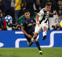 November 7, 2018 - Turin, Italy - Paulo Dybala (R) of Juventus and Alexis Sanchez of Manchester United vie for the ball during the Group H match of the UEFA Champions League between Juventus FC and Manchester United FC on November 7, 2018 at Juventus Stadium in Turin, Italy. (Credit Image: © Mike Kireev/NurPhoto via ZUMA Press)