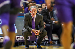 Jan 14, 2020; Morgantown, West Virginia, USA; TCU Horned Frogs head coach Jamie Dixon pauses along the bench during the second half against the West Virginia Mountaineers at WVU Coliseum. Mandatory Credit: Ben Queen-USA TODAY Sports