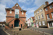 Shire Hall on Market Hill was built in 1575 and given to the town by Thomas Seckford, Woodbridge, Suffolk, England
