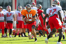 July 28, 2018 - Tampa, FL, U.S. - TAMPA, FL - JULY 28: Quarterback Ryan Fitzpatrick (14) rolls out to his right during the Tampa Bay Buccaneers Training Camp on July 28, 2018 at One Buccaneer Place in Tampa, Florida. (Photo by Cliff Welch/Icon Sportswire) (Credit Image: © Cliff Welch/Icon SMI via ZUMA Press)