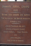 Memorial plaque at the Granary Burial Ground on the Freedom Trail, Boston, Massachusetts