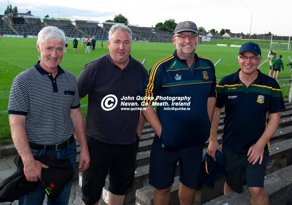 15-07-21. Meath v Dublin - Eirgrid Leinster U-20 Football Championship Semi-Final at Pairc Tailteann, Navan.<br /> Meath supporters L to R: Mal Hickey, Seneschalstown. Peter O'Higgins, Drumbaragh. Kevin Flynn, Ratoath and Colin Price, Castletown.<br /> Photo: John Quirke / www.quirke.ie<br /> ©John Quirke Photography, 16 Proudstown Road, Navan. Co. Meath. (info@quirke.ie / 046-9028461 / 087-2579454).