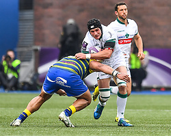 Pau's Ben Mowen is tackled by Cardiff Blues' Nick Williams<br /> <br /> Photographer Craig Thomas/Replay Images<br /> <br /> European Rugby Challenge Cup Round Semi final - Cardiff Blues v Pau - Saturday 21st April 2018 - Cardiff Arms Park - Cardiff<br /> <br /> World Copyright © Replay Images . All rights reserved. info@replayimages.co.uk - http://replayimages.co.uk