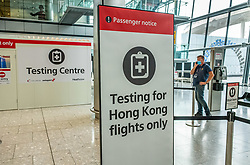 © Licensed to London News Pictures. 20/10/2020. London, UK. A one hour Covid-19 testing centre at London Heathrow for Hong Kong and Italy passengers has opened up at London Heathrow. Two facilities one at Terminal 5 and the other at Terminal 2 will offer much quicker results than the NHS as samples don't need to be sent away to be tested. Prime Minister Boris Johnson is expected to announce a Tier 3 lockdown for Manchester tonight as coronavirus levels of infections continue to escalate throughout the UK. Photo credit: Alex Lentati/LNP