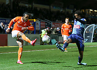 Blackpool's Nathan Delfouneso cross is blocked by Wycombe Wanderers' Jamie Mascoll<br /> <br /> Photographer Lee Parker/CameraSport<br /> <br /> The EFL Sky Bet League One - Wycombe Wanderers v Blackpool - Tuesday 28th January 2020 - Adams Park - Wycombe<br /> <br /> World Copyright © 2020 CameraSport. All rights reserved. 43 Linden Ave. Countesthorpe. Leicester. England. LE8 5PG - Tel: +44 (0) 116 277 4147 - admin@camerasport.com - www.camerasport.com