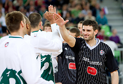 Goran Jagodnik of Union Olimpija and Petar Bozic of Partizan during final match of Basketball NLB League at Final four tournament between KK Union Olimpija (SLO) and Partizan Belgrade (SRB), on April 21, 2011 in Arena Stozice, Ljubljana, Slovenia.  (Photo By Vid Ponikvar / Sportida.com)