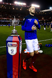 Alexander Milosevic of Nottingham Forest walks past The Brian Clough Trophy on a Sky Bet plinth at The City ground ahead of Nottingham Forest v Derby County  - Mandatory by-line: Robbie Stephenson/JMP - 25/02/2019 - FOOTBALL - The City Ground - Nottingham, England - Nottingham Forest v Derby County - Sky Bet Championship