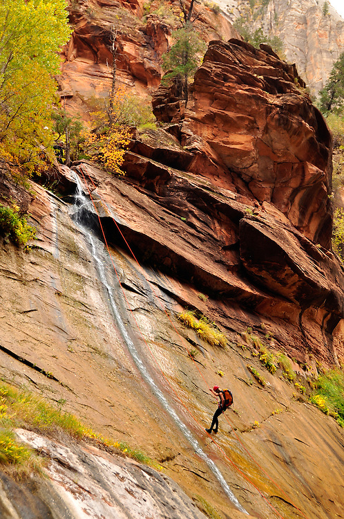 Rappelling into Utah's Zion Canyon.