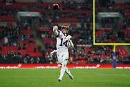 Cincinnati Bengals Quarterback Andy Dalton (14) throws a pass into the endzone during the International Series match between Los Angeles Rams and Cincinnati Bengals at Wembley Stadium, London, England on 27 October 2019.