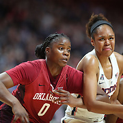 UNCASVILLE, CONNECTICUT- DECEMBER 19:  Azura Stevens #23 of the Connecticut Huskies and Vionise Pierre-Louis #0 of the Oklahoma Sooners challenge for position at a free throw during the Naismith Basketball Hall of Fame Holiday Showcase game between the UConn Huskies Vs Oklahoma Sooners, NCAA Women's Basketball game at the Mohegan Sun Arena, Uncasville, Connecticut. December 19, 2017 (Photo by Tim Clayton/Corbis via Getty Images)