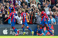 Football - 2021/2022  Premier League - Crystal Palace vs Tottenham Hotspur - Selhurst Park  - Saturday 11th September 2021.<br /> <br /> Wilfried Zaha (Crystal Palace) celebrates in front of the Holmesdale road stand after scoring at Selhurst Park.<br /> <br /> COLORSPORT/DANIEL BEARHAM