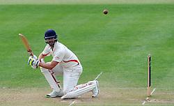 Lancashire's Tom Smith cuts the ball - Photo mandatory by-line: Harry Trump/JMP - Mobile: 07966 386802 - 08/04/15 - SPORT - CRICKET - Pre Season - Somerset v Lancashire - Day 2 - The County Ground, Taunton, England.