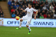 Angel Rangel of Swansea city  in action.Barclays Premier league match, Swansea city v Crystal Palace at the Liberty Stadium in Swansea, South Wales on Saturday 6th February 2016.<br /> pic by Andrew Orchard, Andrew Orchard sports photography.
