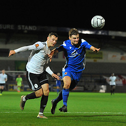 TELFORD COPYRIGHT MIKE SHERIDAN Jordan Davies of Telford battles for the ball with Harvey Smith of Chorley during the Vanarama Conference North fixture between AFC Telford United and Chorley at the New Bucks Head Stadium on Tuesday, November 17, 2020.<br /> <br /> Picture credit: Mike Sheridan/Ultrapress<br /> <br /> MS202021-044