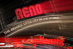 """""""Downtown Reno 2""""  These Reno, The Biggest Little City in the World and Harrah's sign were photographed in Reno, Nevada. The effect was obtained in camera by long exposure mixed with intentional camera movement."""