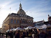 Market stalls and Corn Exchange building, Ipswich, Suffolk, England