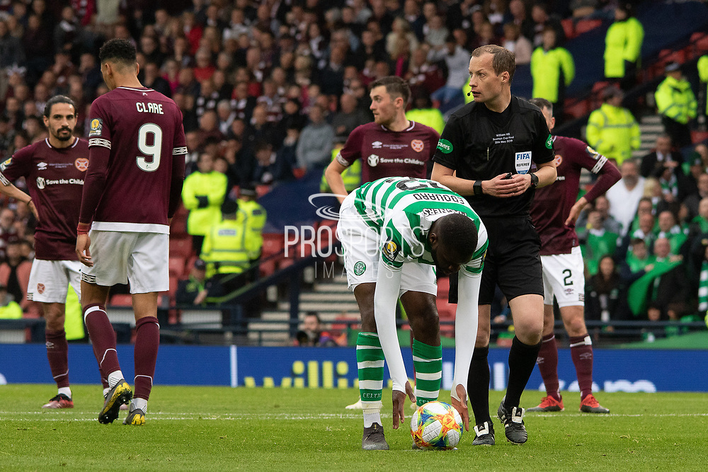 PENALTY! Odsonne Edouard of Celtic places the ball on the spot during the William Hill Scottish Cup Final match between Heart of Midlothian and Celtic at Hampden Park, Glasgow, United Kingdom on 25 May 2019.