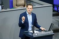 04 NOV 2020, BERLIN/GERMANY:<br /> Dr. Marcel Klinge, MdB, FDP, spricht waehrend einer Debatte zum Pandemieplan fuer das Gastgewerbe, Plenum, Reichstagsgebaeude, Deutscher Bundestag<br /> IMAGE: 20201104-01-090<br /> KEYWORDS: Rede, Speech