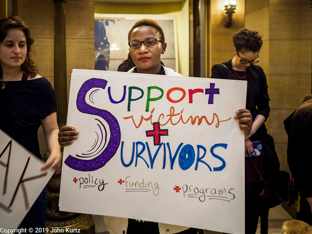 27 MARCH 2019 - ST PAUL, MN, USA: BEATRICE LAIZER, from St. Paul, MN, and a member of Women's Advocates, during a rally in support of the survivors of domestic violence. About 200 people came to the Minnesota State Capitol to rally for two bills in the Minnesota legislature. HF464 would invest in intervention programming for the perpetrators of domestic violence and HF479 supports state funding for domestic violence prevention in under served communities.   PHOTO BY JACK KURTZ
