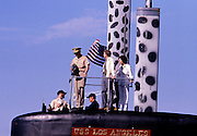 """President Jimmy Carter, First Lady Rosalynn Carter and Admiral Hyman Rickover - known as """"the Father of the Nuclear Navy """", board the US nuclear submarine Los Angeles at Port Canaveral, Florida. After boarding, the Los Angeles departed for an afternoon of sea trials. President Carter served under Rickover during his Naval career. - To license this image, click on the shopping cart below -"""