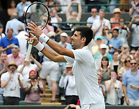 Tennis - 2019 Wimbledon Championships - Week Two, Monday (Day Seven)<br /> <br /> Men's Singles, Fourth Round: Novak Djokovic (SRB) v Ugo Humbert (FRA)<br /> <br /> Novak Djokovic after his victory on court  1.<br /> <br /> COLORSPORT/ANDREW COWIE