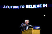"U.S. Democratic Presidential candidate Senator Bernie Sanders (I-Vt.) speaks at the ""Future to Believe In"" Rally at the Kohl Center in Madison, Wisconsin April 3, 2016."
