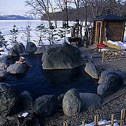 Japan, Hot springs at Lake Kussharo.