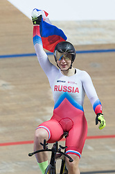 March 2, 2019 - Pruszkow, Poland - Russia's Daria Shmeleva celebrates after winning the Women's 500m Time Trial at the UCI Track Cycling World Championships in Pruszkow on March 2, 2019. (Credit Image: © Foto Olimpik/NurPhoto via ZUMA Press)