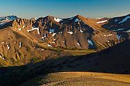 Three men on horesback on the Pacific Crest Trail near Leavitt Pass, Emigrant Wilderness, California