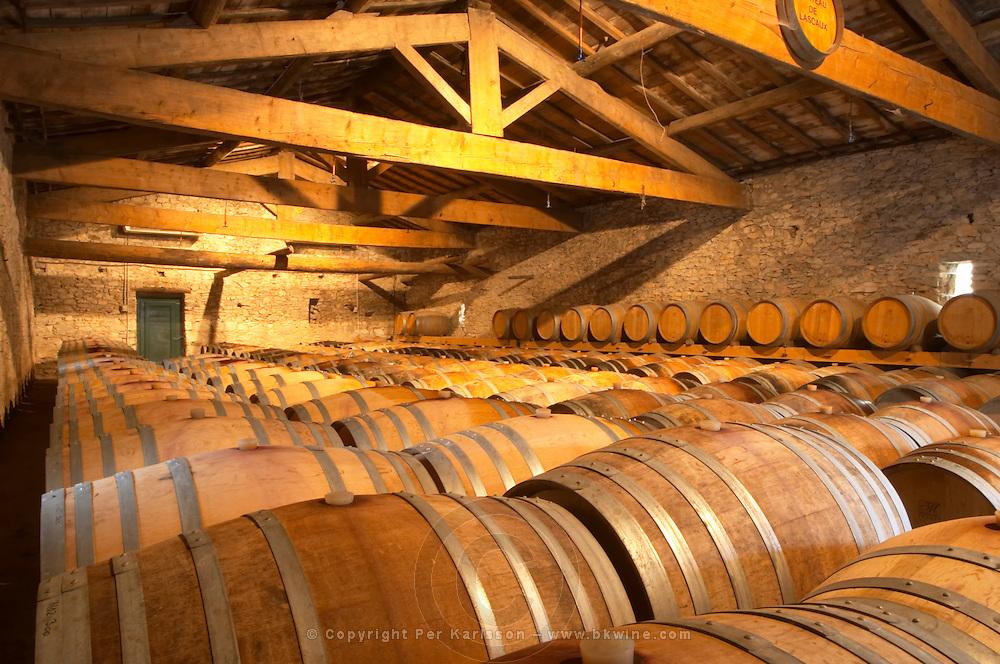 Chateau de Lascaux, Vacquieres village. Pic St Loup. Languedoc. Barrel cellar. France. Europe.