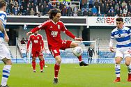 Birmingham City midfielder Jota (27) takes the ball down n the edge of the box during the EFL Sky Bet Championship match between Queens Park Rangers and Birmingham City at the Loftus Road Stadium, London, England on 28 April 2018. Picture by Andy Walter.