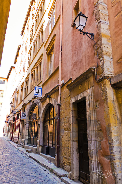 Cobblestone street in old town Vieux Lyon, France (UNESCO World Heritage Site)