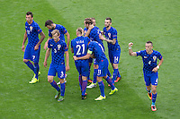 GOAL CELEBRATION - Croatia's Ivan Perisic (right) celebrates scoring the opening goal with team-mates<br /> <br /> Photographer Craig Mercer/CameraSport<br /> <br /> International Football - 2016 UEFA European Championship - Group D, Czech Republic v Croatia - Stade Geoffroy Guichard, St Etienne - France <br /> <br /> World Copyright © 2016 CameraSport. All rights reserved. 43 Linden Ave. Countesthorpe. Leicester. England. LE8 5PG - Tel: +44 (0) 116 277 4147 - admin@camerasport.com - www.camerasport.com