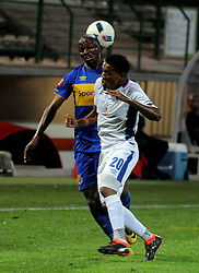 Cape Town 18-03-03 Cape Town City defender Thamsanqa Mkhize attacking as Chippa player Sizwe Mdlinzo defending  in the PSL Game In Athlone Staduim Pictures Ayanda Ndamane African news agency/ANA