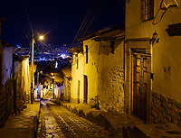 CUSCO, PERU - CIRCA SEPTEMBER 2019:  Narrow street of Cusco at night.