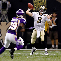 September 9, 2010; New Orleans, LA, USA;  New Orleans Saints quarterback Drew Brees (9) throws a pass during the NFL Kickoff season opener at the Louisiana Superdome. The New Orleans Saints defeated the Minnesota Vikings 14-9.  Mandatory Credit: Derick E. Hingle