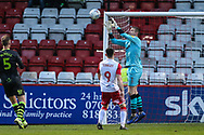 Forest Green Rovers goalkeeper Adam Smith(1) catches the ball during the EFL Sky Bet League 2 match between Stevenage and Forest Green Rovers at the Lamex Stadium, Stevenage, England on 26 December 2019.
