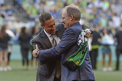 August 27, 2017 - Seattle, Washington, U.S - Soccer 2017: Timbers Head Coach CALEB PORTER is greeted by Sounders Head Coach BRIAN SCHMETZER as the Portland Timbers visit the Seattle Sounders for an MLS match at Century Link Field in Seattle, WA. (Credit Image: © Jeff Halstead via ZUMA Wire)