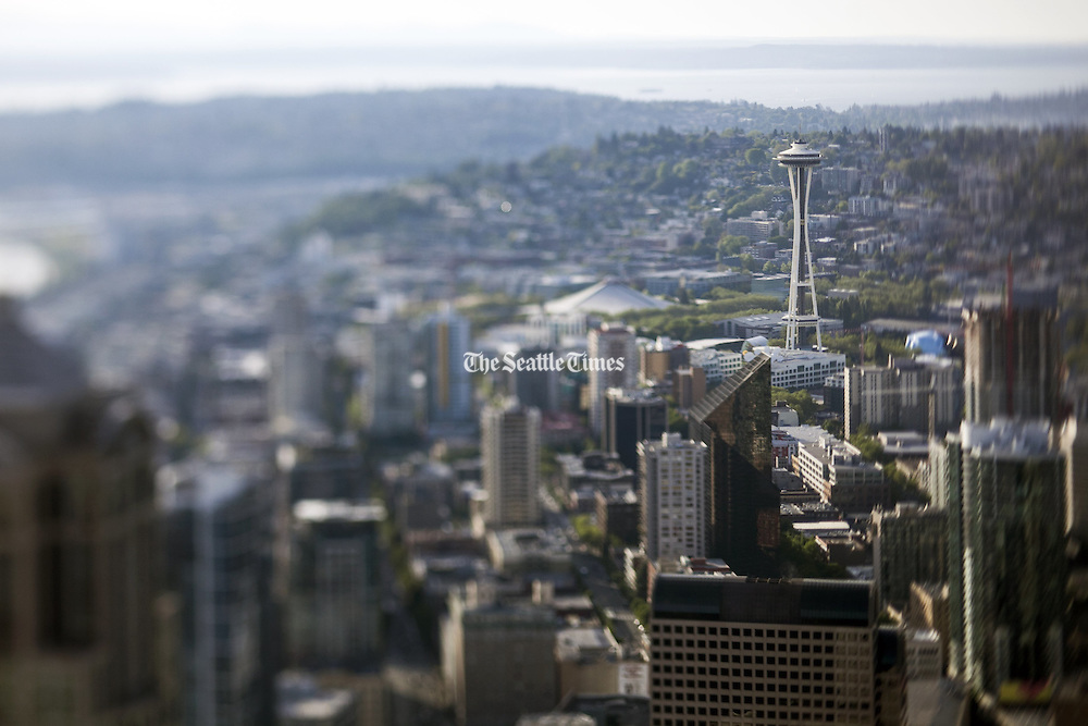 The Space Needle and Queen Anne Hill seen from the Columbia Center's Sky View Observatory. Image taken with a tilt-shift lens. (Bettina Hansen / The Seattle Times)