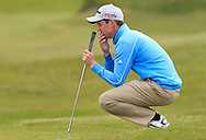 John Ross Galbraith (Whitehead) on the 8th green during Round 1 of the East of Ireland Amateur Open Championship at Co. Louth Golf Club, Baltray on Saturday 30th May 2015.<br /> Picture:  Thos Caffrey / www.golffile.ie