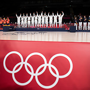 TOKYO, JAPAN August 8:  The United States Women's basketball team on the podium for the gold medal presentation after the teams victory in the Japan V USA basketball final for women at the Saitama Super Arena during the Tokyo 2020 Summer Olympic Games on August 8, 2021 in Tokyo, Japan. (Photo by Tim Clayton/Corbis via Getty Images)