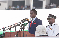 LUSAKA, Sept. 13, 2016  (Xinhua) -- Zambian President-elect Edgar Lungu speaks during his inauguration ceremony in Lusaka, Zambia, Sept. 13, 2016. Zambian President-elect Edgar Lungu was on Tuesday inaugurated for his five year mandated in office during a grand ceremony held in Lusaka, the country's capital. (Xinhua/Peng Lijun) (Credit Image: © Penglijun/Xinhua via ZUMA Wire)